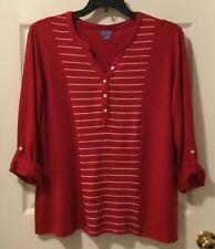 Laura Scott Long Sleeved Shirt Henley Top Striped XL Tango Red New!