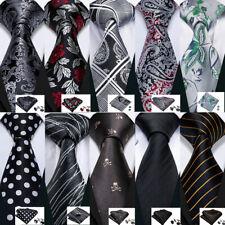 USA Black Grey Silver Mens Ties Necktie Silk Set Paisley Solid Funeral Formal