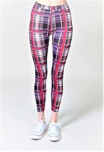Women's High Waist Plaid Printed Leggings Footless Tight 3 Colors