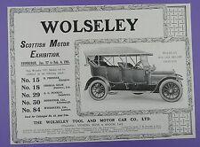 Wolseley Roi Des Belges Phaeton- Scottish Motor Exhibition 1911, Original Advert
