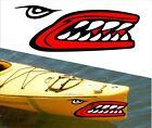 SHARK TEETH MOUTH DECAL STICKERS KAYAK CANOE JET SKI HOBIE DAGGER OCEAN boat a3