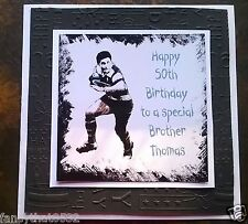 Handmade Personalised Birthday Card Rugby 70th 80th Dad Brother Nephew Grandpa