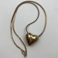 Vintage Gold Tone Puffy Heart Pendant Necklace Romantic Love Theme Feminine