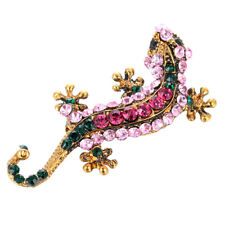 Gecko Brooch Pin Jewelry PartyGiftV! Women Vintage Gold Plated Crystal Rhinesone