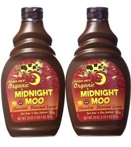 2 Packs Trader Joe's Organic Midnight Moo Chocolate Flavored Syrup 20 oz Each