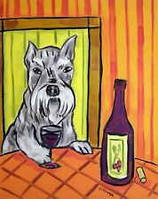 schnauzer at the wine bar dog art print 13x19