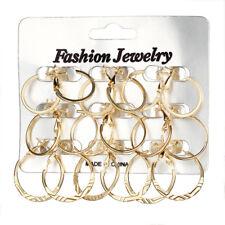 9Pairs/set Vintage Silver Gold Big Circle Hoop Earrings Women Steampunk Ear Clip
