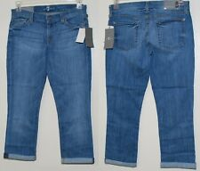 7 FOR ALL MANKIND CROP & ROLL CUFFED SKINNY STRETCH JEANS Size 28 NWT $178