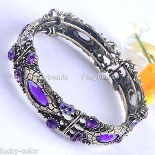 Vintage Bronze Metal Purple Crystal Rhinestone Cuff Bracelet Bangle Retro Slim