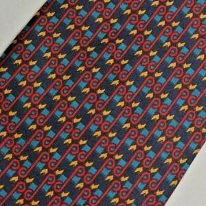 Vintage Blue Red Blue Foulard Silk Tie