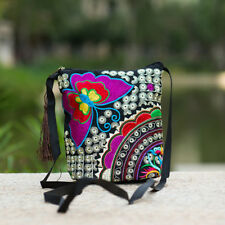 New Women Ethnic Embroidered Tassel Crossbody Shoulder Bag Cellphone Handmade