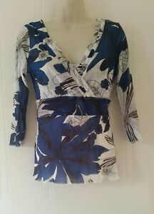 Coast Womens Smart Career Party 2 in 1 Top Blouse Blue White Size 14~Immaculate