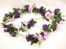 Artificial Silk Flowers Two-Tone Purple Pink Rose Hydrangea Garland Wedding Vine