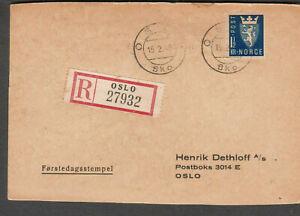 Norway 15 2 1945 WWII registered Forstedagsstempel post card Henrik Dethoff Oslo