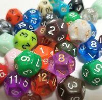 (50) Wiz Dice D12 Random Color Polyhedral Dice Set, 12 Sided Lot D&D RPG DnD