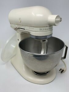 White KitchenAid KSM90 300W Ultra Power Stand Mixer with Attachments