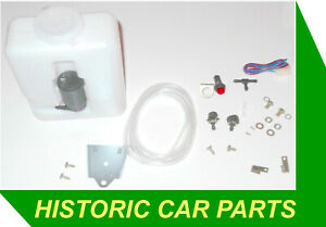 WINDSHIELD WASHER KIT1.2Lt  Bottle & Pump 1.8m Pipe T N.R Valve Twin Jet Switch
