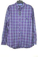 Chaps Mens Easy Care Button Down Purple Plaid Long Sleeve Dress Shirt L $55