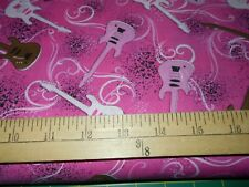 1 yard Rock On Pink Guitars Fabric