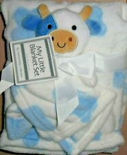 My Little Blanket Set Baby Blue Cow Security Blankie Lovey Combo New!