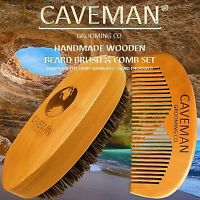 Handcrafted Natural Fine Tooth Wooden Beard Comb + Beard Brush by Caveman®