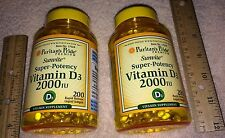 (2) Vitamin D-3, **400**  softgels (total),  2000 IU each, from Puritan's Pride