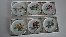 6   Hutschenreuther Untersetzer Teller Porzellan Blumenmotiv 60er vintage OVP
