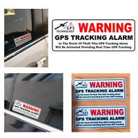 Car Sticker WARNING GPS TRACKING ALARM Anti-Theft Vehicle Vinyl Decals 4 Pieces