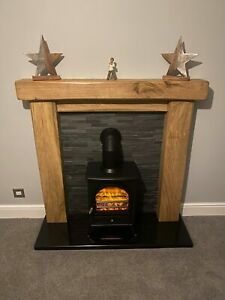 Hand Crafted Oak Beam Fire Surround, Rustic Made To Measure