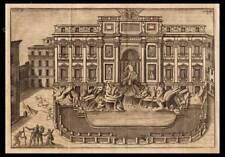 STAMPA ORIGINALE 1750 ROMA FONTANA DI TREVI