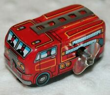 Vintage Wind Up Fire Truck Tin Toy - Made in Japan - Tested and Working