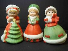"Set of 3 Christmas bells bisque porcelain figural girls 3"" tall"
