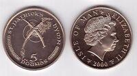 ISLE OF MAN -  RARE VIRENIUM 5 POUNDS UNC COIN 2000 YEAR KM#1044 PATRICK`S HYMN