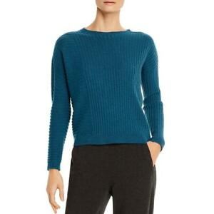 Eileen Fisher Womens Blue Cashmere Pullover Sweater Petites PL BHFO 8611