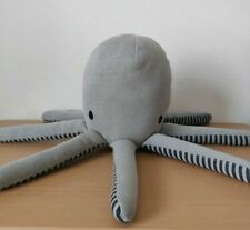 "Stuffed Octopus Grey Knit Pillow Plush Throw Pillowfort 18"" Nautical Beach Home"