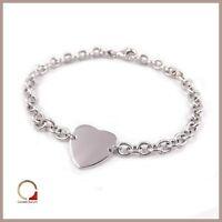 Bracciale in argento braccialetto da donna con Cuore e catena rodiato oro bianco