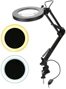LED Magnifying Lamp with Clamp Mount, 5X Magnification, Beauty Studio/Salon