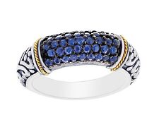 Phillip Gavriel 18k Gold Sterling Silver Oxidized Blue Sapphire Band Ring