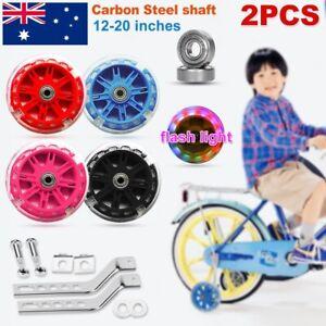 "LED Flashing Children Bicycle Bike Stabilisers Kids Training Wheels 12-20"" inch"