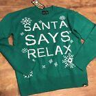 Ugly Fairisle Ugly Christmas Mens Sweater Green Santa Says Relax M Nwt