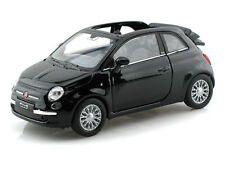 Welly 1:32 Display 2010 Fiat 500C Diecast Car Black Color