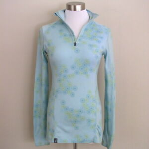 Ibex Woolies 2 Womens 1/4 Zip Base Layer Top Blue Floral Merino Wool Pullover S