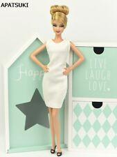 White Sundress Vest Dress For Barbie Doll Clothes Evening Dresses Jumper Skirt