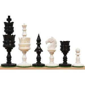 """4.1"""" Lotus Series Hand Carved Chess Pieces Only Set - Camel Bone"""