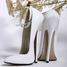 Women's Stiletto Super High Heels Pointed Toe Club Plus Size White Shoes US 8