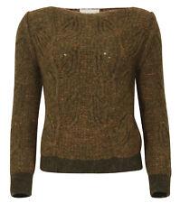 Chiara Bertani Pullover Wolle oliv/softkorall Gr. XL 42 Italy NEU * 63003