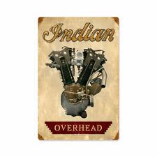 Classic Motorcycle Indian Overhead V Twin Engine Retro Sign Blechschild Schild