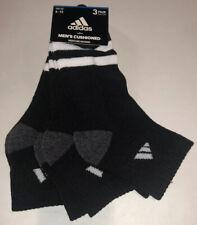 Adidas Cushioned Quarter Socks 3 Pair Men 6-12 Black White Grey 3 Stripe New!
