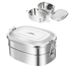GA HOMEFAVOR Stainless Steel Lunch Box 2-in-1 Silver Food Container 1000ml Bento