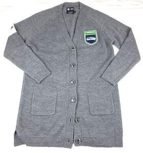 NFL Apparel Womens NFL Seattle Seahawks Varsity Cardigan Sweater Size L/XL Gray